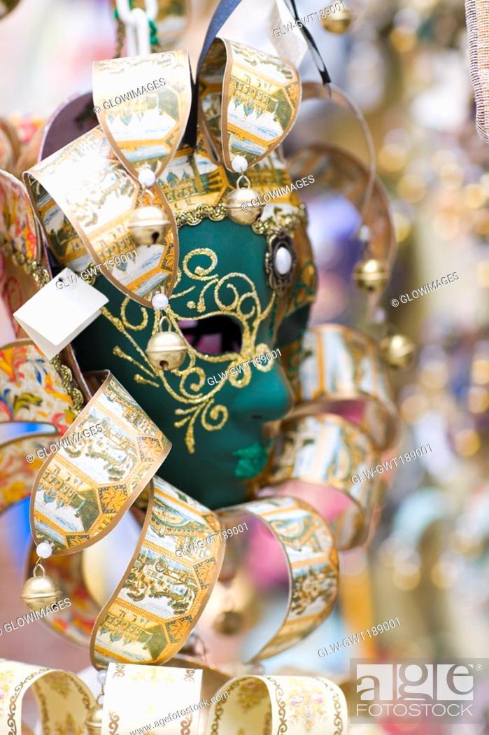 Stock Photo: Close-up of a masquerade mask, Venice, Italy.
