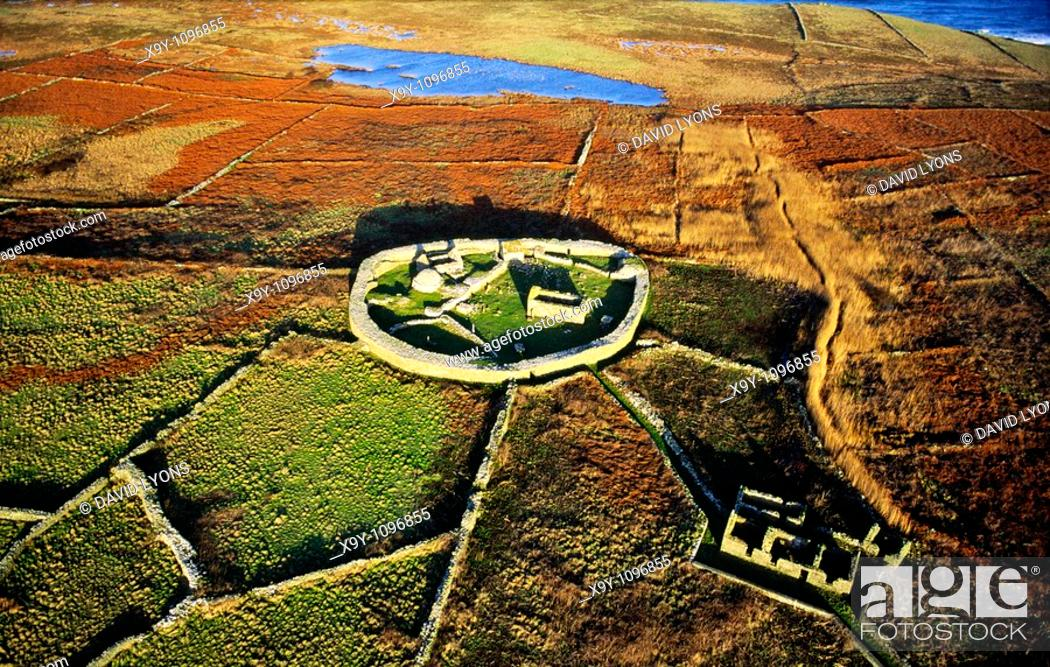 Stock Photo: Inishmurray island, County Sligo, Ireland  Early Celtic Christian ring fort cashel monastic settlement and fisherman's cottage.