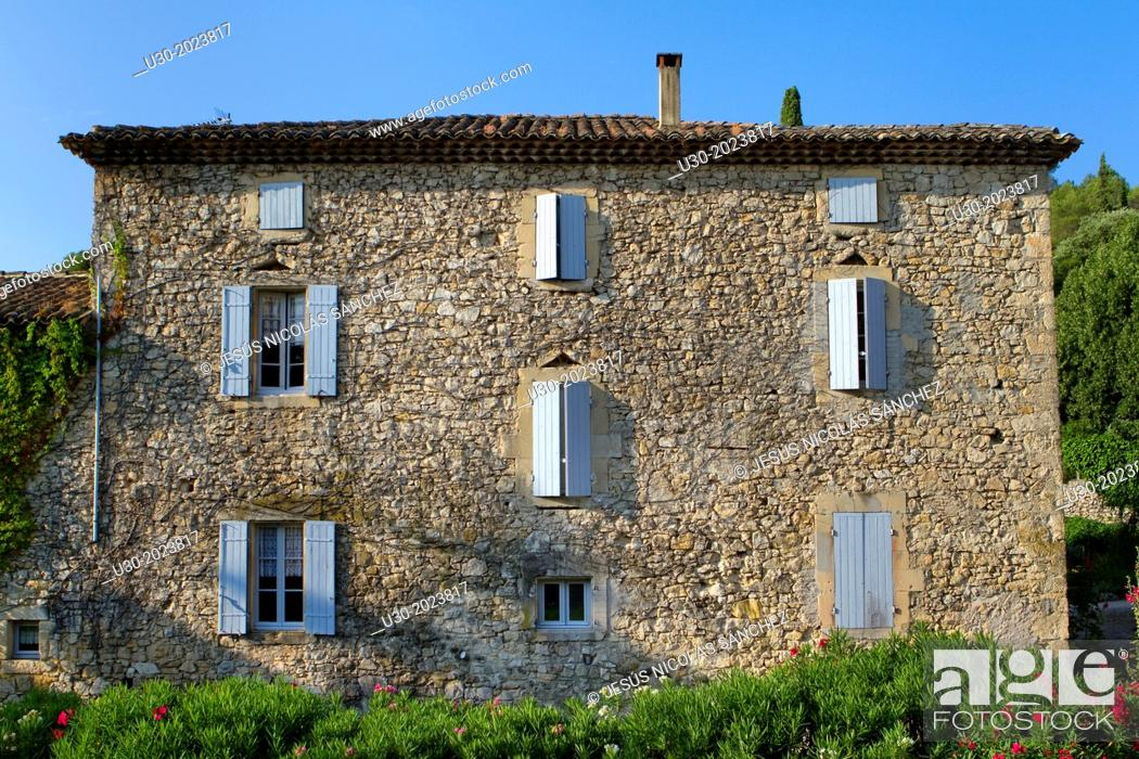 Stock Photo: Typical house in Roque-sur-Ceze, labelled The Most Beautiful Villages of France. Gard deparment, Languedoc-Roussillon region. France.