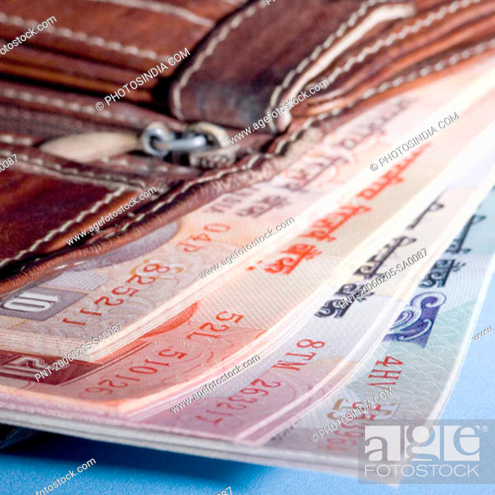 Stock Photo: Close-up of Indian banknotes in a wallet.