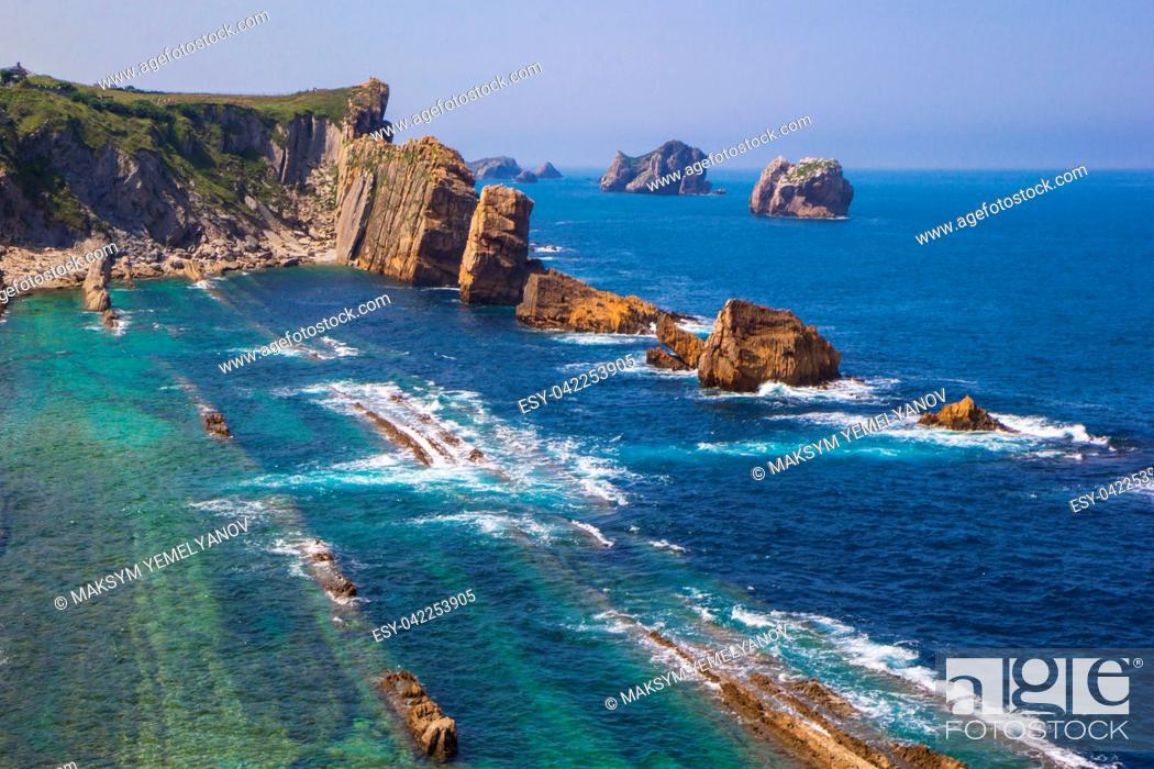 Stock Photo: Arnia coast and Arnia beach. Santander. Cantabria. Spain.