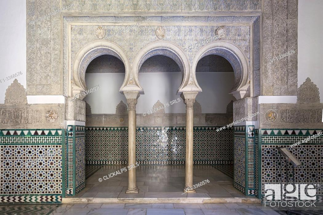 Stock Photo: Typical arabic horseshoe archs in Palacio de Pedro I (Palace of Peter I), Royal Alcazars of Seville, Seville, province of Seville, Andalusia, Spain.