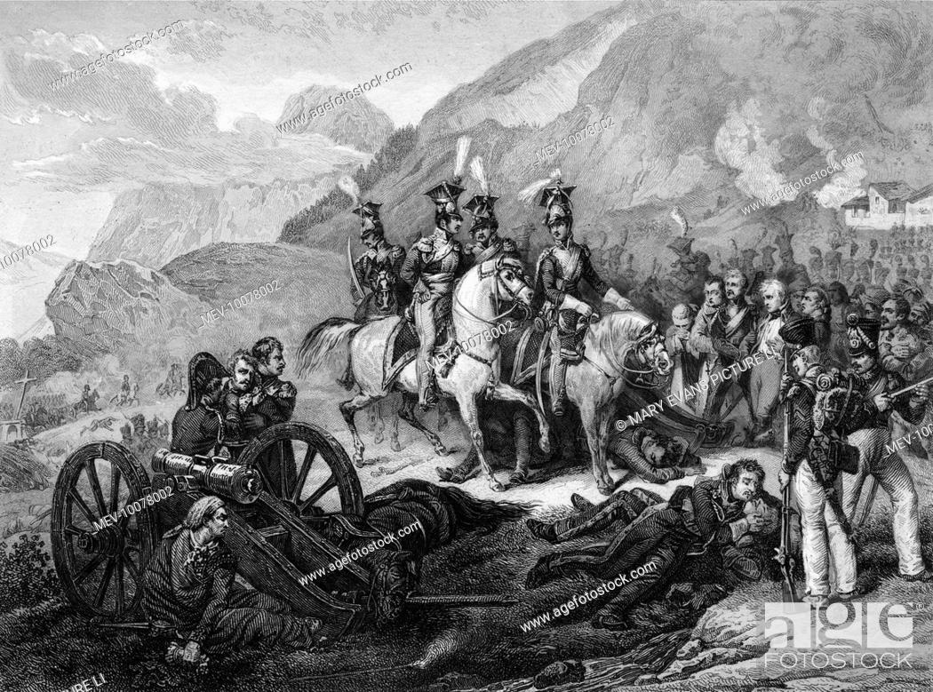 Stock Photo: PENINSULA CAMPAIGN At the battle of SOMO-SIERRA Napoleon directs a cavalry charge against a Spanish battery protecting the road to Madrid.