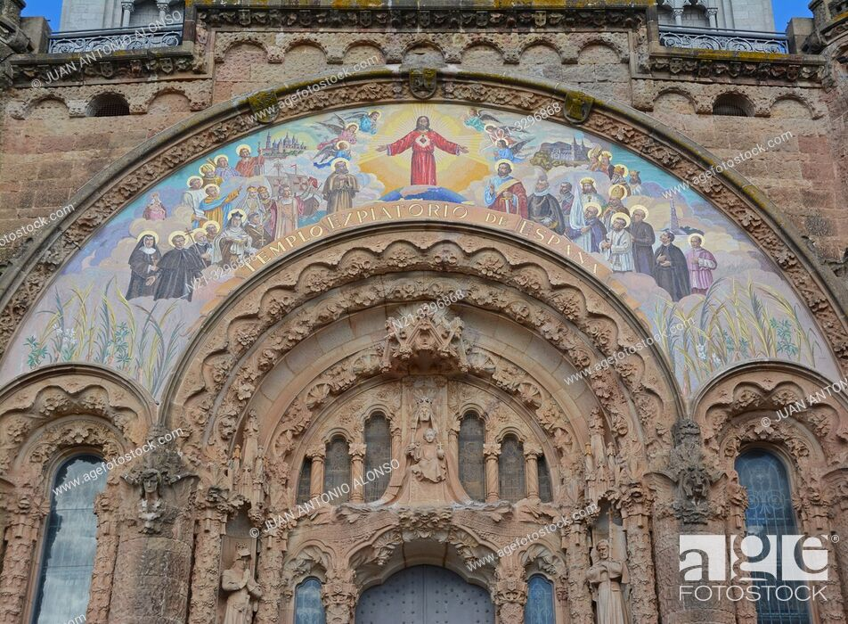 Stock Photo: The Sacred Heart of Jesus Church main entrance. Tibidabo Mountain, Collserola mountain range, Barcelona, Catalonia, Spain, Europe.
