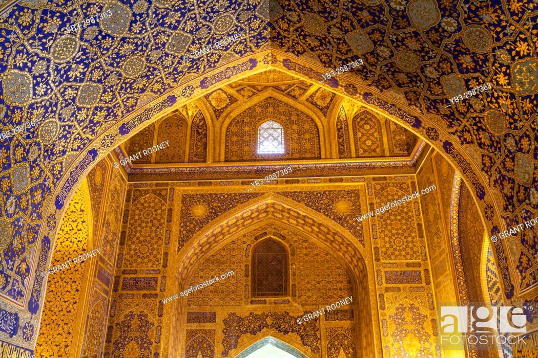 Stock Photo: A Gilded Room In The Tilla-Kori Madrassa, The Registan, Samarkand, Uzbekistan.