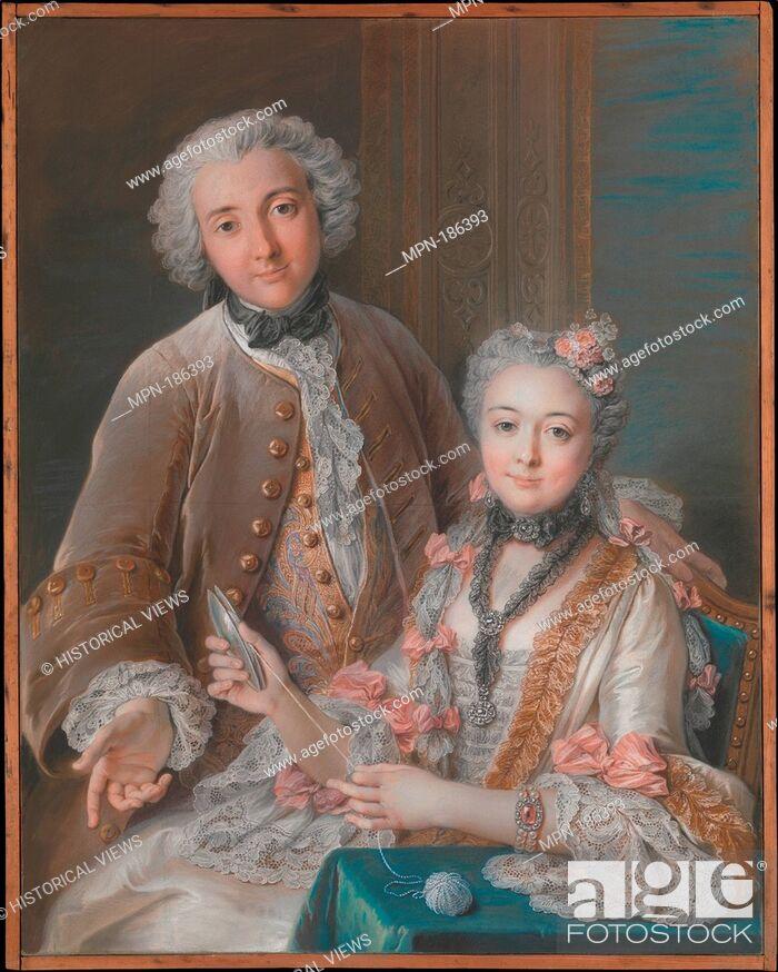 Stock Photo: Double Portrait Presumed to Represent François de Jullienne (1722-1754) and His Wife (Marie Élisabeth de Séré de Rieux, 1724-1795).