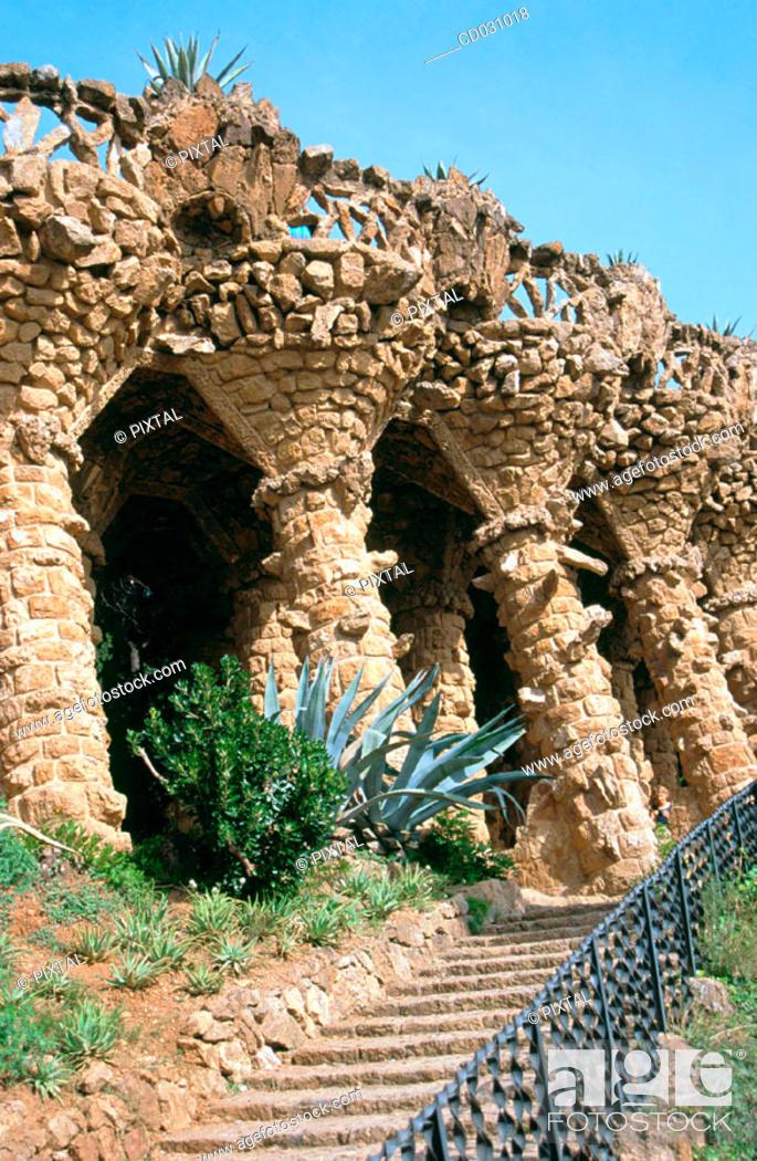 Stock Photo: Columns at Güell Park (Gaudí, 1900-1914). Barcelona. Spain.