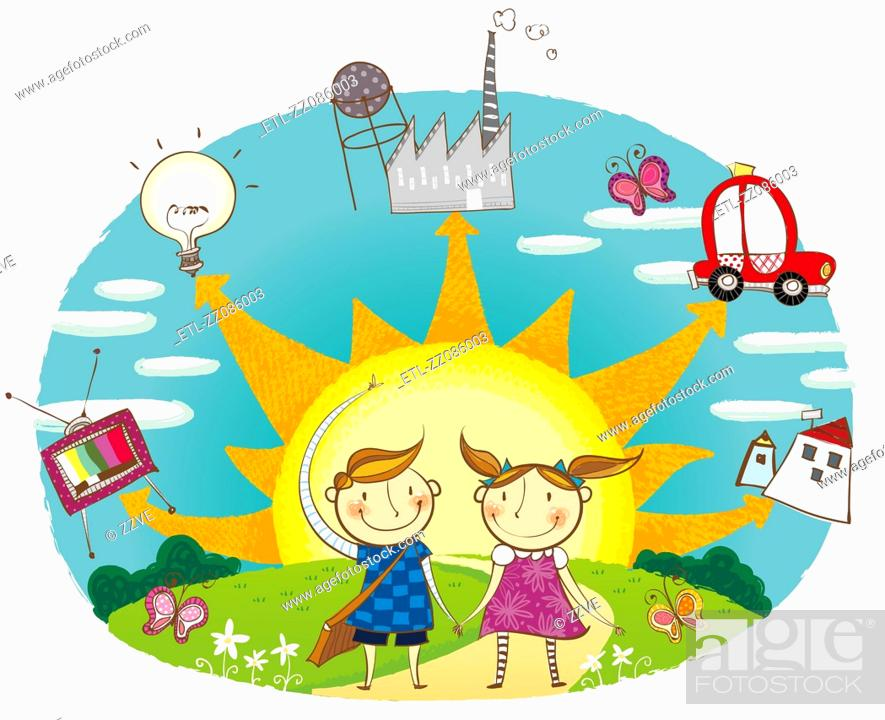 Stock Photo: Portrait of boy and girl showing the use of Solar energy.
