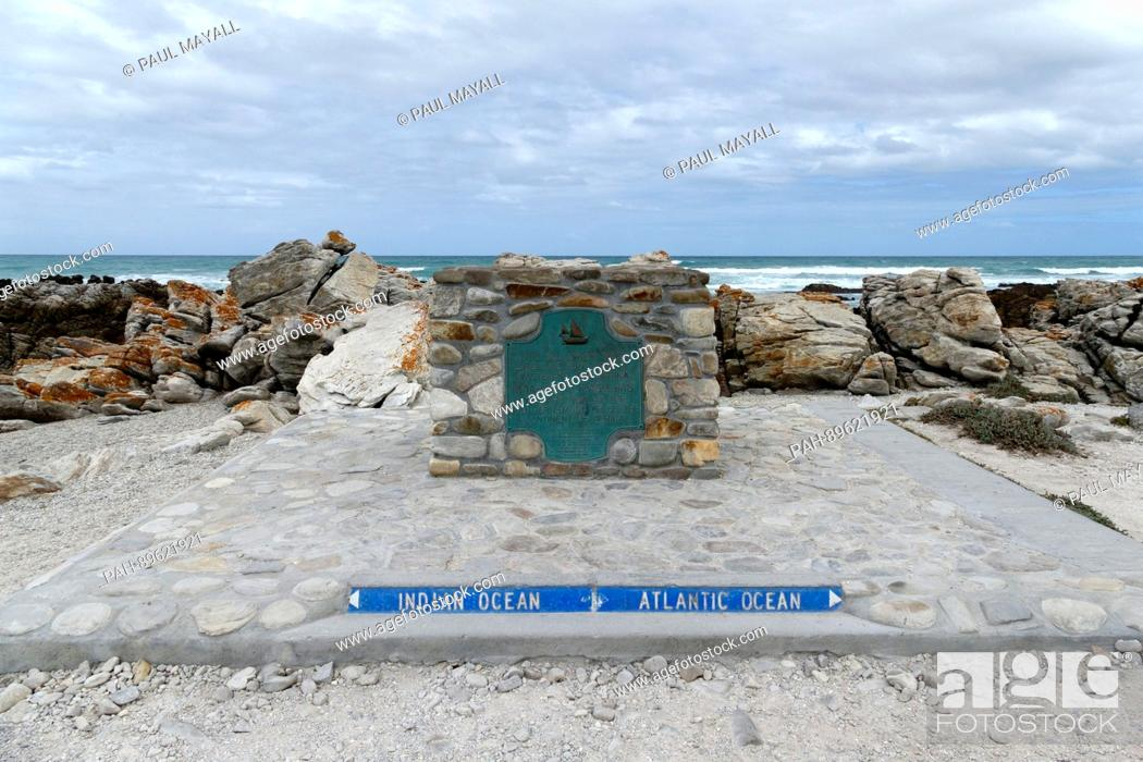 Stock Photo: Most southern point where the Indian and Atlantic oceans meet, Agulhas , Western Cape, South Africa | usage worldwide. - /South Africa/South Africa.