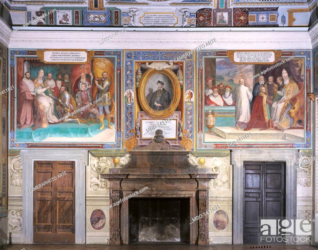 Stock Photo: Hall of the Farnesani Fastis (Salone dei fasti farnesiani), by Barozzi Jacopo known as Vignola, 1550 - 1559, 16th Century.