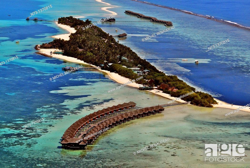 Stock Photo: Indian Ocean, Maldives, Diva Resort Naiad aerial view.