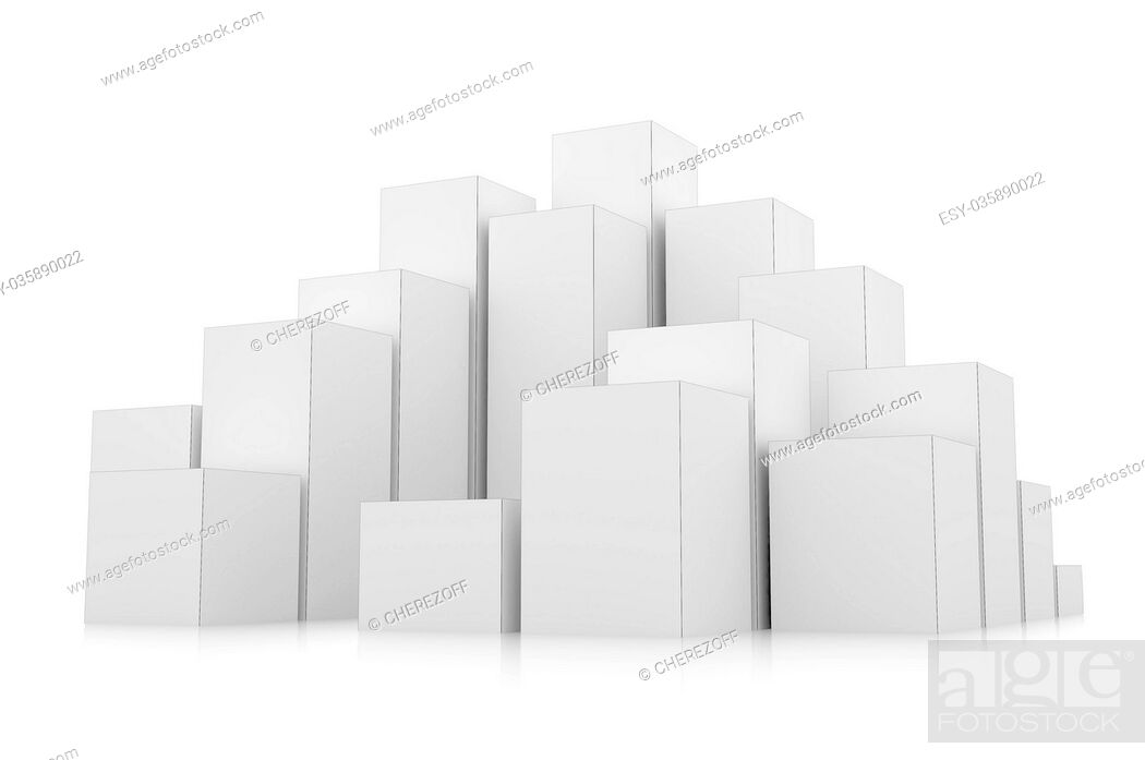 Stock Photo: City of boxes isolated on mirror floor.
