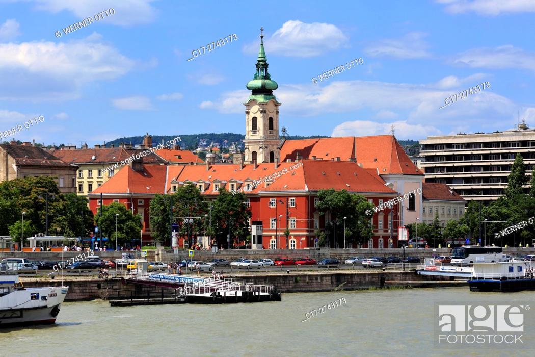 Stock Photo: Hungary, Central Hungary, Budapest, Danube, Capital City, Franciscan church, monastery church, baroque, Danube riverwalk, ship landing stage.