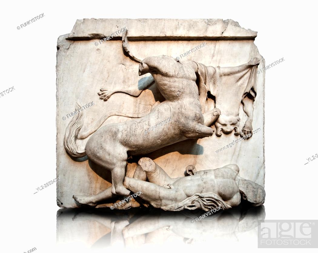 Stock Photo: Sculpture of Lapiths and Centaurs battling from the Metope of the Parthenon on the Acropolis of Athens no XXVIII. Also known as the Elgin marbles.