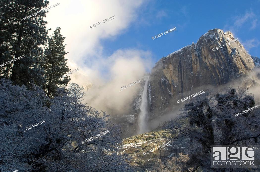 Stock Photo: Upper Yosemite Fall waterfall after a spring snow storm, Yosemite National Park, California.