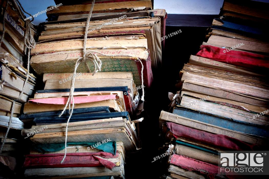 Stock Photo: old books, India, Asia.