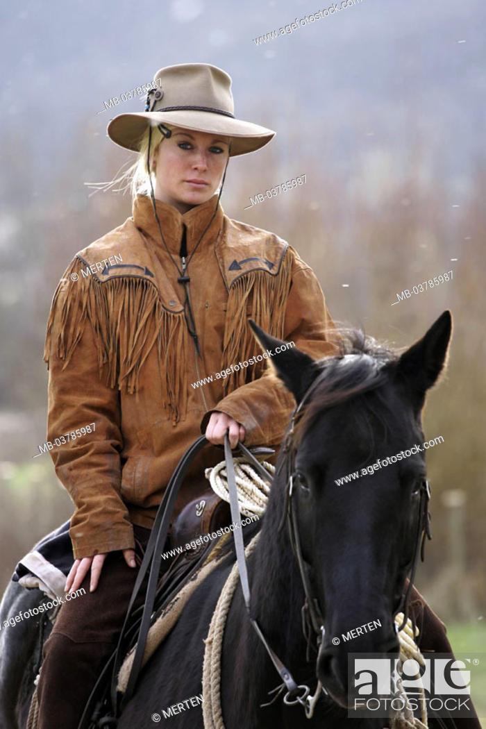7978519e7 Horsewoman, horse, snowfall, detail, Series, woman, young, 20-30 ...