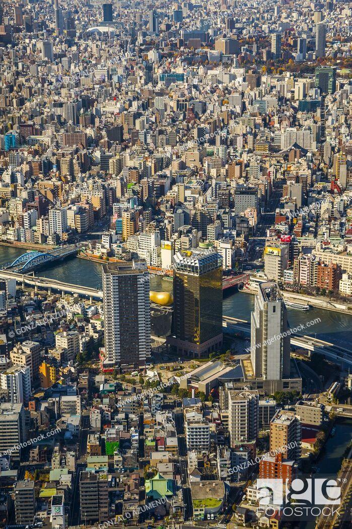 Stock Photo: View of Tokyo from Tokyo Sky Tree. Sumida river. Sumida Neighborhood. Tokyo. Japan.