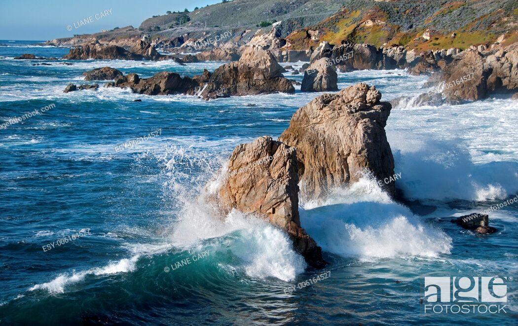 Stock Photo: dramatic rugged coast of Big Sur California.