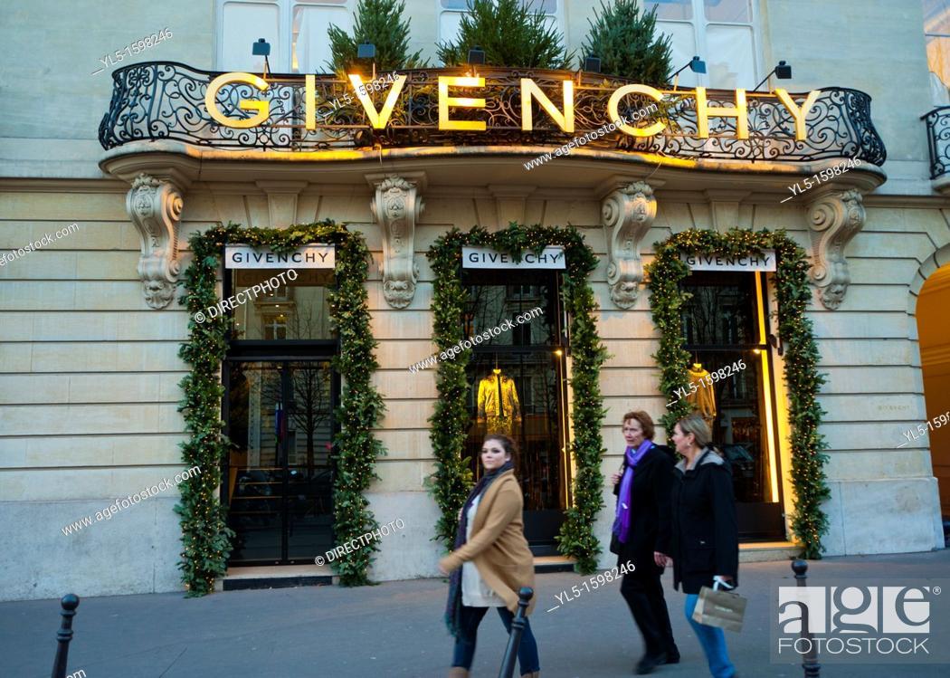 Stock Photo: Paris, France, Luxury Christmas Shopping, Givenchy Clothing Store , Front Entrance, Avenue George V.