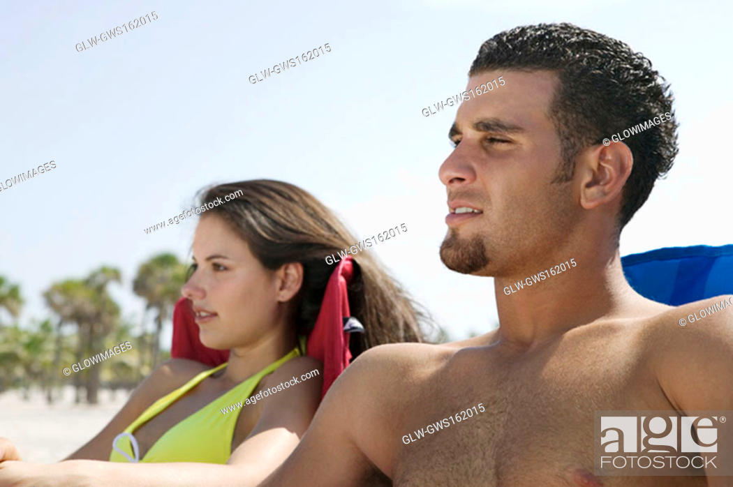 Stock Photo: Close-up of a young couple sitting.