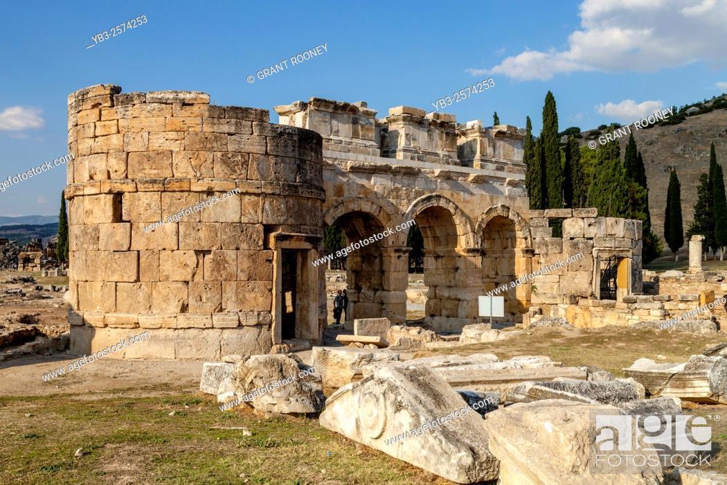 Stock Photo: The Frontinus Gate, Hierapolis/Pamukkale, Denizli Provence, Turkey.