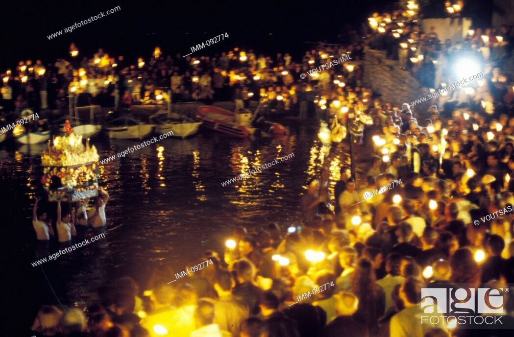 Stock Photo: Saronic Gulf, Hydra at Easter The epitaphios is put at sea.