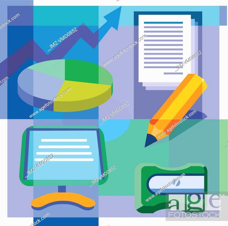 Stock Photo: A montage of a pie chart, documents, a pencil, a pencil sharpener, and a computer monitor.