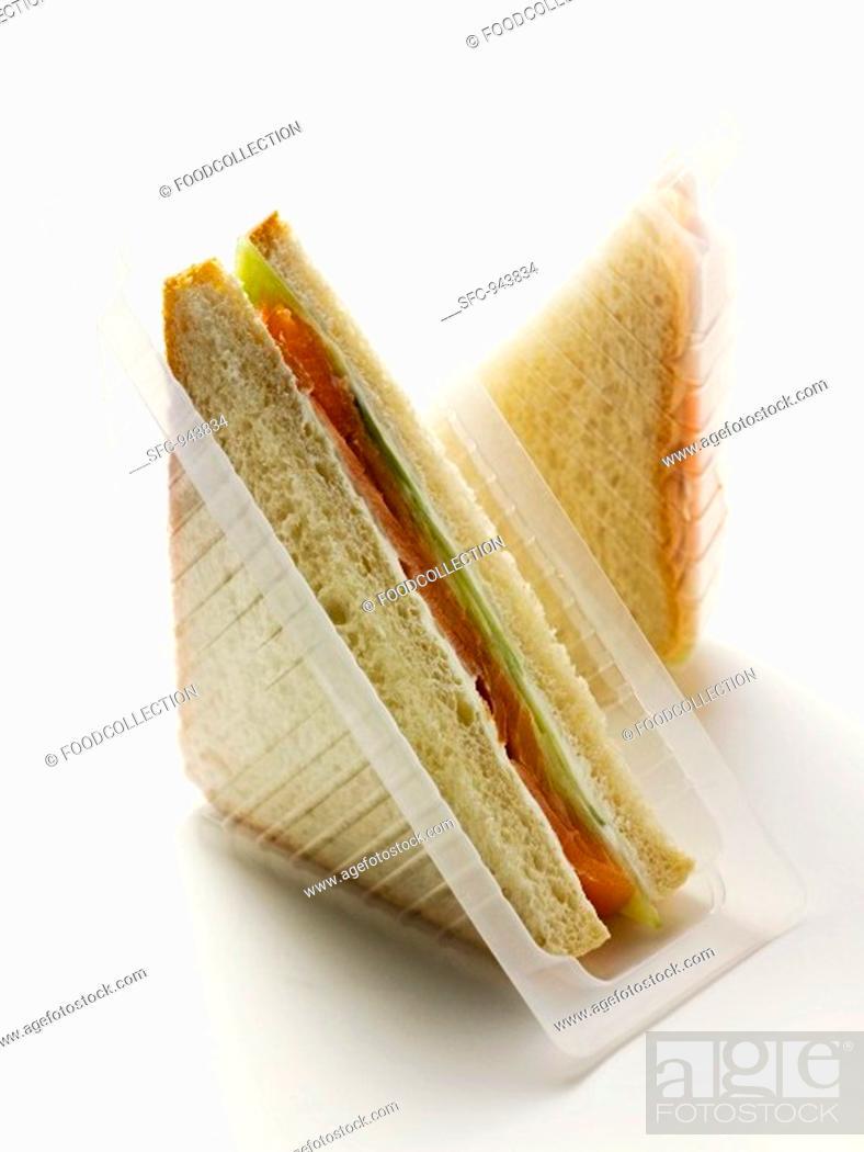 Stock Photo: Smoked salmon sandwich.