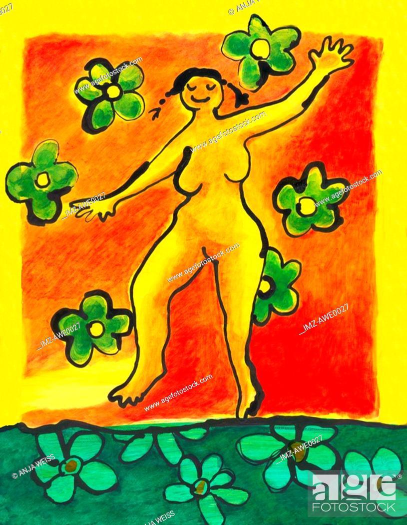 Photo de stock: A woman dancing in a field of flowers.