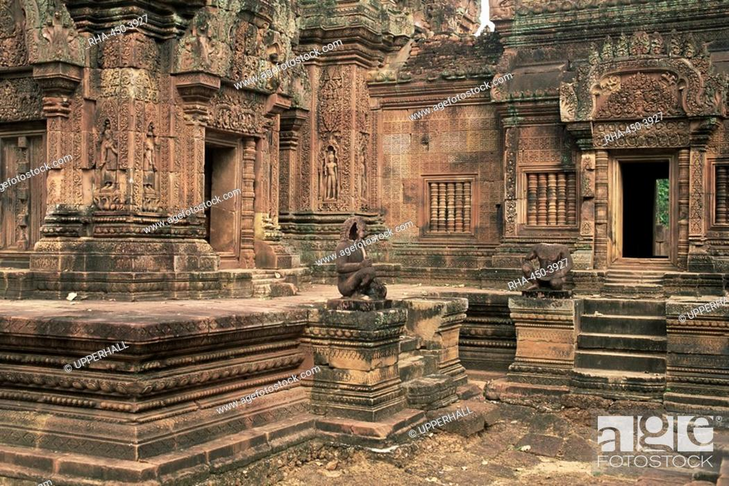 Stock Photo: Inner enclosure of Bante Srei Banteay Srei Temple, dating from the 10th century, Angkor, UNESCO World Heritage Site, Cambodia, Indochina, Southeast Asia, Asia.