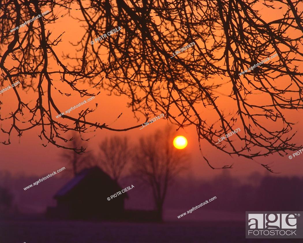 Imagen: Sunrise in a village, Podlasie region, Poland.