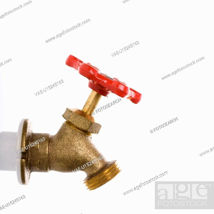 Stock Photo: Brass hot water faucet.