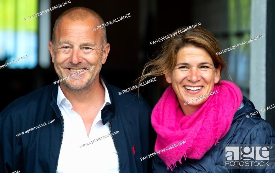 Stock Photo: 29 June 2020, Bavaria, Weßling: Heino Ferch, actor, and his wife Marie-Jeanette take part in a press tour at Circus Krone Farm.