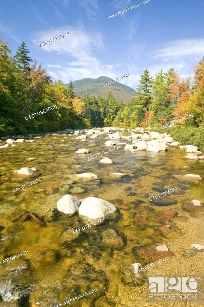 Stock Photo: An autumn waterway along the Kancamagus Highway in the White Mountain National Forest.