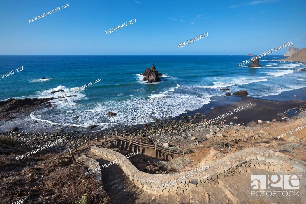 Stock Photo: Scenic Benijo beach in north Tenerife Island, Canary islands, Spain.
