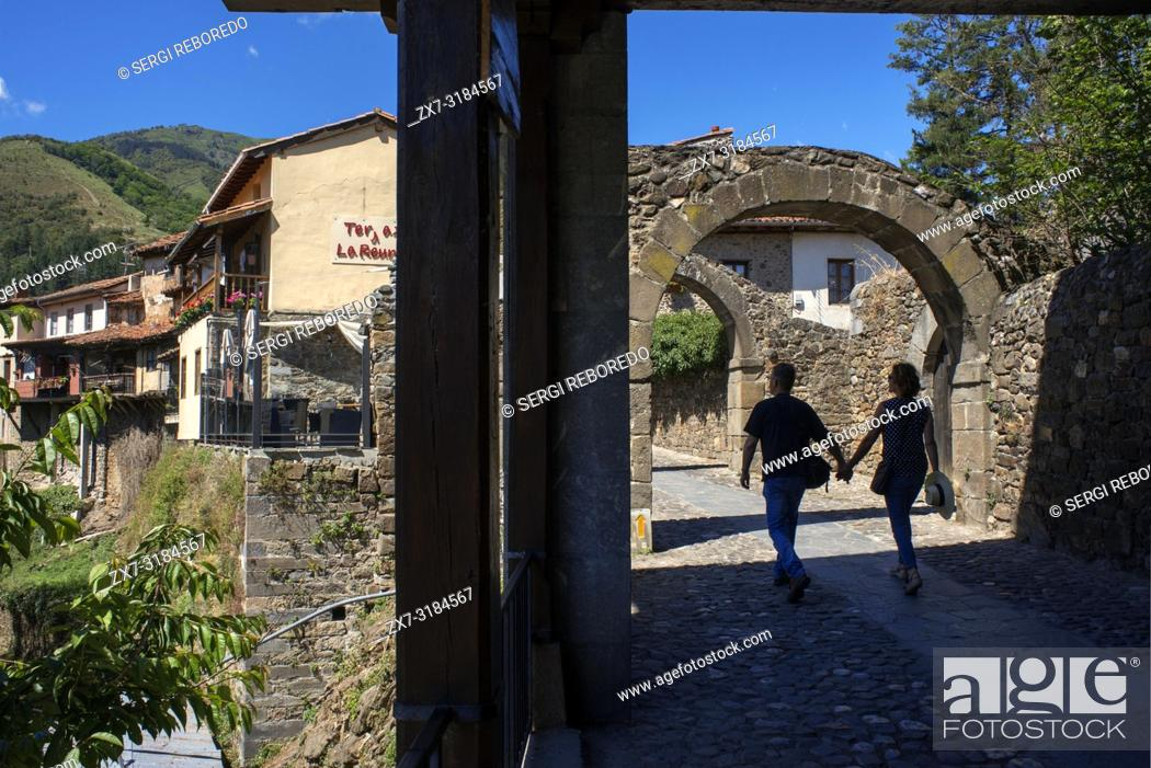 Stock Photo: Village of Potes, Cantabria, Spain, Europe. One of the stops of the Transcantabrico Gran Lujo luxury train.