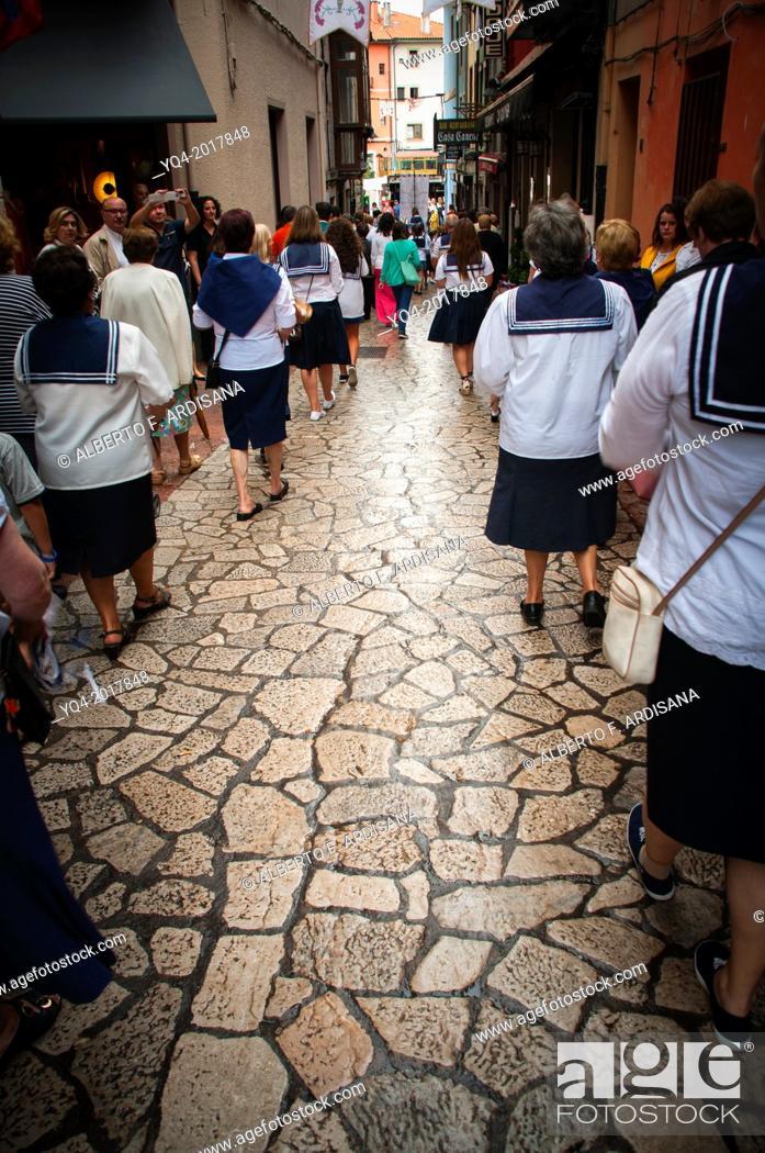 Stock Photo: Procession of Santa Ana, patron saint of sailors of Llanes. Asturias. Spain.