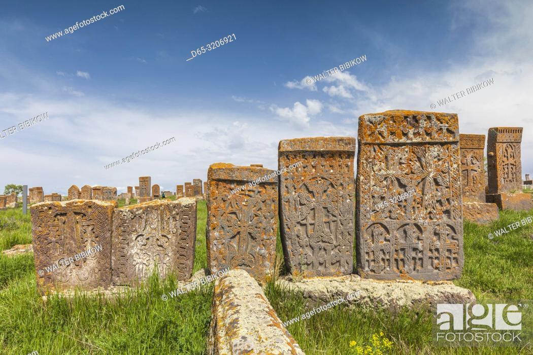 Stock Photo: Armenia, Lake Sevan, Noratus, town cemetery, ancient khachkar monuments.