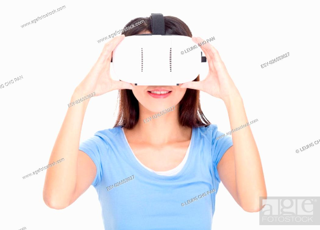 Stock Photo: Woman watching with vr device.