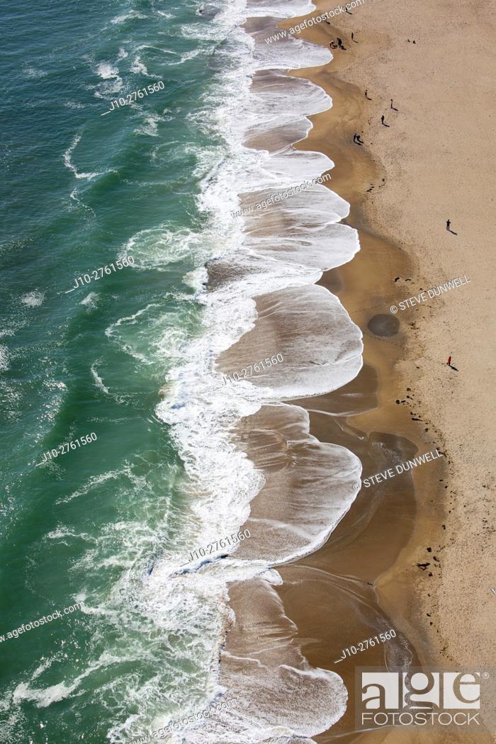 Stock Photo: Aerial view of waves at Hampton Beach, New Hampshire, USA.