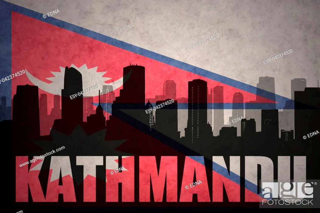 Imagen: abstract silhouette of the city with text Kathmandu at the vintage nepal flag background.