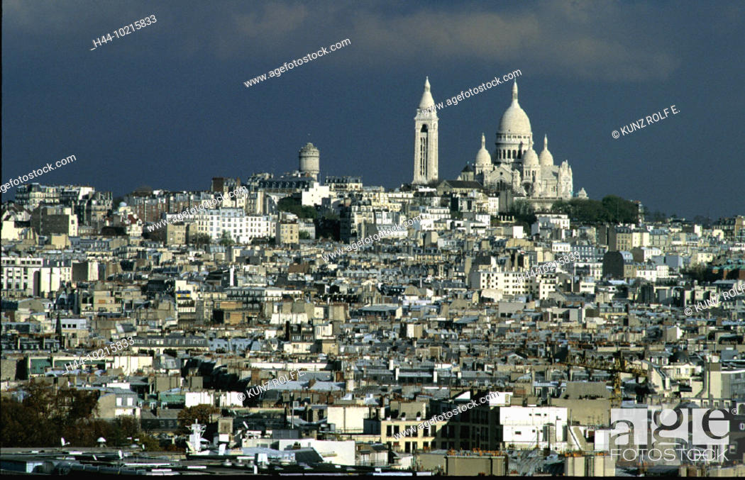 Stock Photo: 10215833, France, Europe, gray, sky, Paris, Sacre Coeur, overview, clouds, weather,.