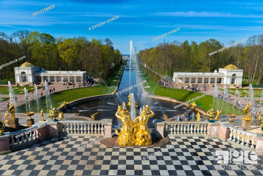 Stock Photo: The Grand Cascade And Samson Fountain In Peterhof, Saint Petersburg.