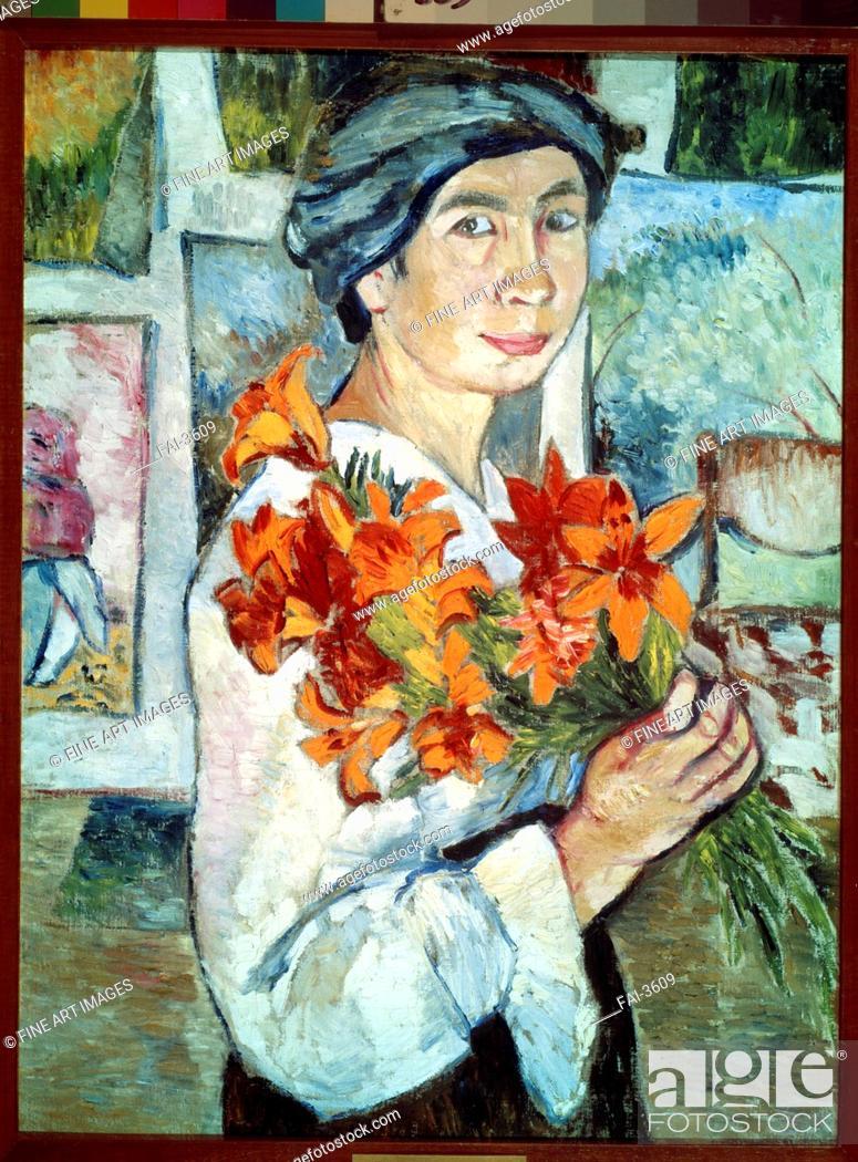 Stock Photo: Self-portrait with yellow lilies. Goncharova, Natalia Sergeevna (1881-1962). Oil on canvas. Expressionism. 1907. State Tretyakov Gallery, Moscow.