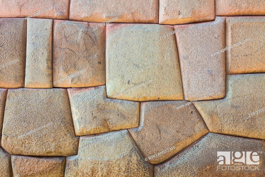 Stock Photo: Abstract image of an Incan dry-stacked wall in Cusco, Peru.