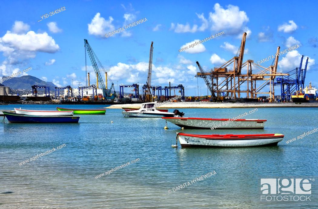 Stock Photo: Africa, Mauritius, Port Louis Harbor, container terminal seen from Tombeau Bay.