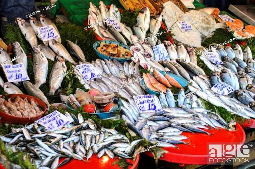 Galata fish market stall Stock Photos and Images | age fotostock