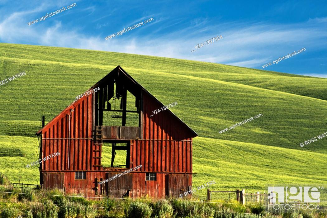 Stock Photo: A red barn in the Palouse.