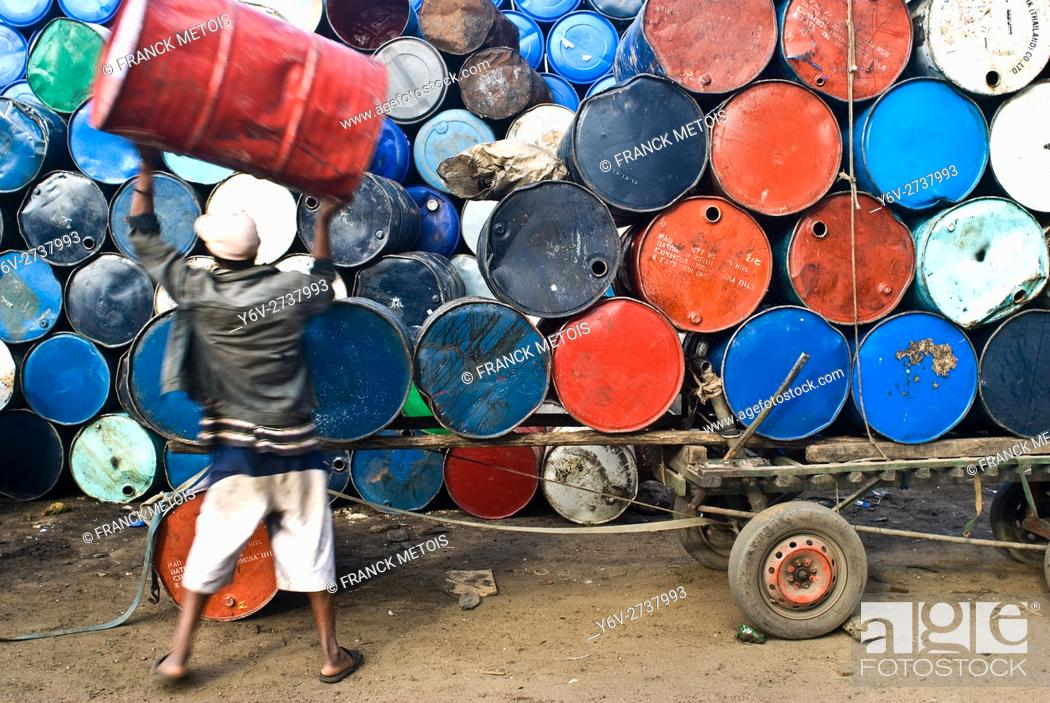 Stock Photo: Barrels storage. They are intended for sale. At Toamasina ( Madagascar).